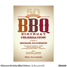 Milestone Birthday BBQ Celebration Invitation Invite your friends and family to a big old BBQ Birthday Party to celebrate a milestone event! Country lettering and rustic styling are given to this design with a textured looking background and shadowed edges for an aged effect. Reminiscent of an old western wanted poster, this invite is sure to please.