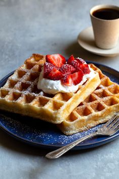 Light & Crisp Belgian Waffles - Amazingly light and crisp waffles when they are freshly made but also re-heat to be almost as good. Perfect for weekdays! Belgian Waffle Iron, Belgian Waffles, Belgian Food, Buttermilk Waffles, Pancakes And Waffles, Sweet Breakfast, Breakfast Recipes, Breakfast Ideas, Do You Like Waffles