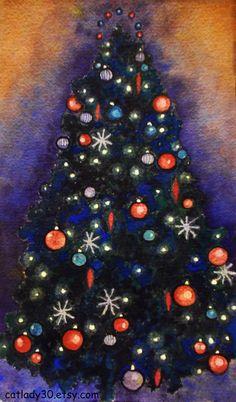Black Christmas tree watercolor print. by CatladyWatercolors