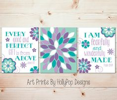Wall art in purple and teal