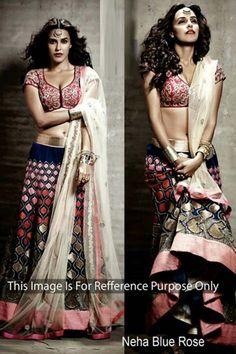 Neha Dhupia Blue Bollywood Lehenga - DMV8909