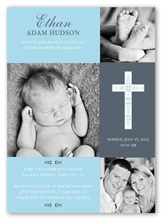 Cross Of Boy Invitation Card | Baptism Invitations | Shutterfly