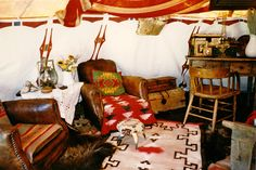 Ralph Lauren's Double RL Ranch -- Interior of a guest teepee. Telluride, Colorado, USA