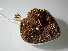 Golden Titanium Quartz Heart Shaped Necklace  by TheFaerieMines, €12.00