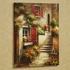 Home Tuscan Flowers Canvas Art Red Tuscan Wall Decor, Tuscan Art, Tuscan Kitchen Decor, Pinterest Arte, Tuscan Courtyard, Style Toscan, Flower Canvas Art, Flower Wall, Wal Art
