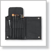 7-Piece Black Brush Set with Case & Zippered Pocket, Black
