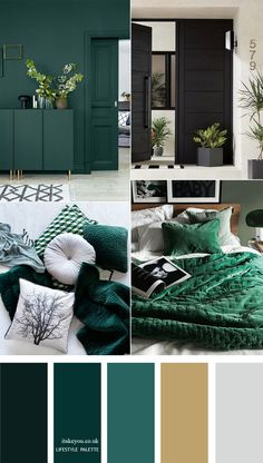 Dark green color palette with muted gold - Home color decor #color #colorpalette #homecolor #green  #greencolors