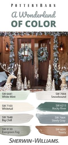 """Tired of traditional reds and greens? When it comes to sophisticated holiday colors, these hues make the """"Nice List."""" In fact, this collection, which includes selections from the Fall/Winter 2017 palette, is chock full of grown-up holiday colo Paint Colors For Living Room, Paint Colors For Home, House Colors, Paint Schemes, Color Schemes, Winter 2017, Fall Winter, Rocky River, Nice List"""