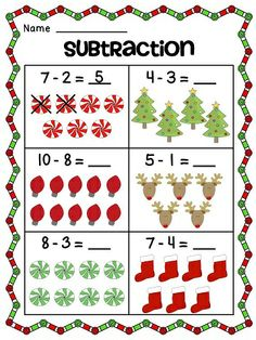 Christmas subtraction activities and printables