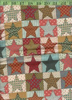 Kesslers Patchwork Stars Calico Print 100% Cotton Quilting Quilt Fabric 2  yds!!
