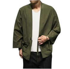 >> Click to Buy << Army green cardigan Men Clothing Cotton Cardigan Jacket Male Streetwear Fashion Hiphop Casual Coat Loose Kimono Jacket #Affiliate