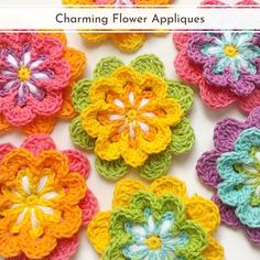 Flower appliques are a great way to jazz up any project, whether it be a crocheted blanket, a sweater, or anything else. This collection of Charming Flower Appliques will surely make your craft-loving heart beat faster! We hope you have plenty of colorful yarn scraps in your stash. You will certainly need them! Even beginners will easily master these genius patterns, without a doubt. #freecrochetpattern #crochetpattern #crochetflower #crochetapplique Knitted Flowers, Crochet Flower Patterns, Flower Applique, Crochet Motif, Crochet Hooks, Knitting Patterns, Diy Crochet Flowers Tutorial, Pdf Patterns, Crochet Braids