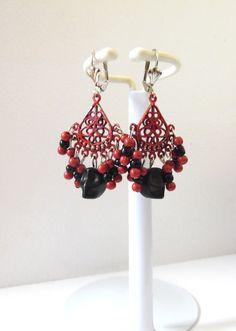 Day of the Dead Wedding Earrings Red Black Sugar Skull Chandelier Leverback Dangle by sweetie2sweetie on Etsy https://www.etsy.com/listing/251630878/day-of-the-dead-wedding-earrings-red