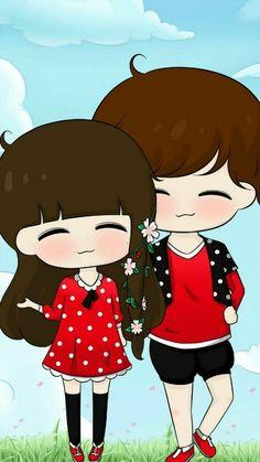 Cute, art, and baby image Cute Chibi Couple, Love Cartoon Couple, Cute Love Couple, Kawaii Chibi, Anime Chibi, Kawaii Drawings, Cute Drawings, Cute Couple Wallpaper, Art Watercolor