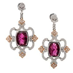 Charles Krypell Pink Tourmaline Diamond White Gold Dangle Earring | From a unique collection of vintage dangle earrings at https://www.1stdibs.com/jewelry/earrings/dangle-earrings/