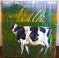 Cow original arylic painting on reclaimed by johnandgigiathome, $275.00