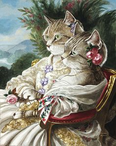 """""""Victoria, Duchesse de Nemours (née Princess Victoria of SAXE-COBURG & GOTHA) & Queen Victoria of the United Kingdom"""" (orig. by Franz Xaver Winter Halter, by Susan Herbert Chat Royal, Costume Chat, Animal Gato, Image Chat, Cat Coloring Page, Coloring Book, Adult Coloring, Gatos Cats, Fancy Cats"""