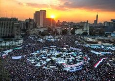 Today's sunset from Tahrir Square in Egypt, January 25 2012.