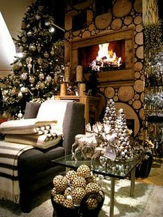 Look beyond the fancy Christmas stuff... That really, really cool fireplace wall is AWESOME.