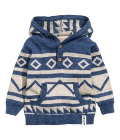 Check this out! Hooded sweater in soft, fine-knit cotton fabric with a button placket, kangaroo pocket at front, and ribbing at cuffs and hem. - Visit hm.com to see more.