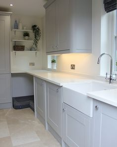 Utility Room Transformation - Just A Little Build Grey Shaker Kitchen, Kitchen And Bath, Small Kitchen Diner, Kitchen Island, Boot Room Utility, Utility Cupboard, Utility Room Sinks, Small Utility Room, Utility Room Storage