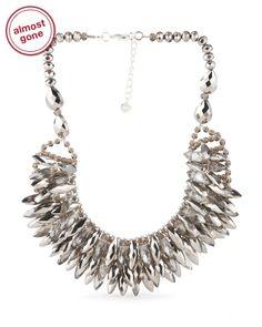 Grey Czech Crystal Silver Necklace