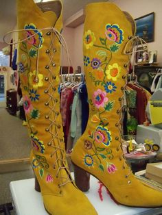 Jerry Edouard 70's embroidered beaded boots  (came in white and black but i like the mustard.). these were knocked off left and right.