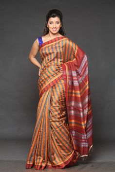 Buy Eco Stree tusser silk #saree online with #women   #clothing  store #craftshopsindia