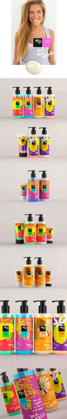 Identity and packaging design for Profarma N°21 Body Care. Project developed at Up Design, Brazil.