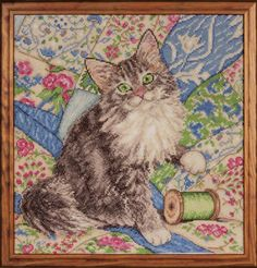 Cat On Quilt Counted Cross Stitch Kit Kitten Thread New 14 Ct Aida Design Works #DesignWorks #Sampler