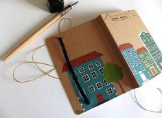Notebook medium Old Town handmade por PaulaHurtadoIlustra en Etsy