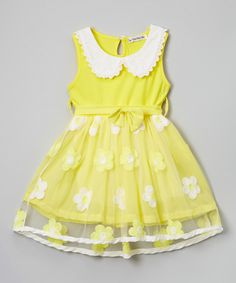 Look at this Yellow Daisy Overlay Dress - Toddler & Girls on #zulily today!