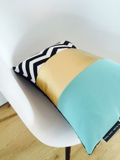 Color Block Design Turquoise Metallic Gold Black and White Chevron  https://www.etsy.com/shop/sheshappydesign PIN15 for 15% Off Purchase Of Any Pillow