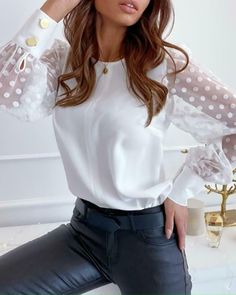 Shop Mesh Dot Popper Cuff Blouse right now, get great deals at joyshoetique Trend Fashion, Look Fashion, Ladies Fashion, Polka Dot Blouse, Blouse Styles, White Women, White Long Sleeve, Pattern Fashion, Types Of Sleeves