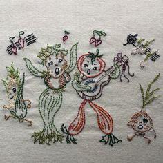 Vegetable Serenade Towel by StitchinTimeStudio on Etsy https://www.etsy.com/listing/384641710/vegetable-serenade-towel