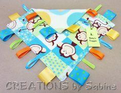 Sensory Blanket, Baby Toy Lovie, Taggie Blankie, Ribbon Tag Blanket, blue turquoise, monkeys, animals