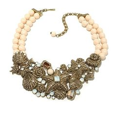 "Shop Heidi Daus ""Seashore Chic"" Beaded 2-Row Crystal Bib Necklace at HSN mobile"