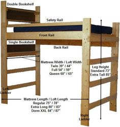 free college dorm loft bed plans | Easy Woodworking Plans