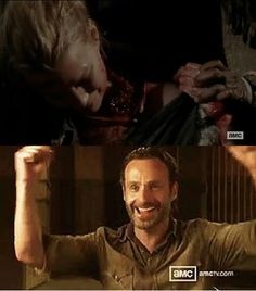 OP: {Walking Dead} my exact reaction! //  This is fucked up.  The violent, racist redneck gets sainthood when he dies but the women (Andrea and Lori) get no such redemption. How misogynistic is this fandom?