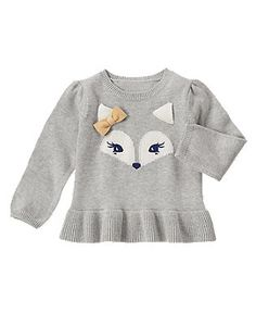 Baby Girl Stuff: Fox Peplum Sweater
