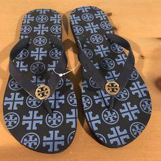 5a53084bd Tory Burch Thin Enamel Printed Flip Flops Sandal Thong Flat Size 11 Navy  Blue