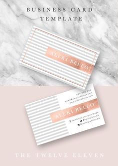 Business Card Template - Layered Photoshop File - Grey - Rose Gold / Copper - Calling Card - Modern - Elegant - Fashion Inspired