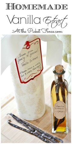 Homemade vanilla extract is easy to make and is perfect for gift giving during the holiday season. Package in re-purposed chip cans for added charm.