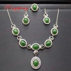 c4df85d8d4b 925 sterling silver with jade suits Flower shape Fine jewelry Luxury and  generous A birthday present