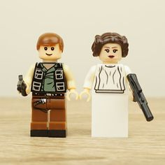 Star Wars wedding cake topper, Han Solo and Leia, StarWars Cake Topper, Star Wars Cake Topper, Lego Wedding Cake Topper, Lego Cake Topper  Here you see another kind of Rebel Alliance - Han Solo and Leia Organa as Custom Lego cupcake Toppers! Arent they adorable?  Leia wears her signature flowing white dress and Swirly Hair Braids. Han sports his traditional casual outfit, complete with black vest and suave hair.  Perfect for decorating cupcakes or cakes. For Leia, you get your choice of…