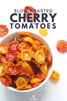 2 hours · Vegan Gluten free Paleo · Serves 4 · Roasted cherry tomatoes are simple, healthy and addictively good.