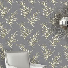 Tempaper Edie Temporary Wallpaper in Lemon Ash | AllModern