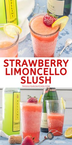 Looking for the ultimate summer cocktail?  This Strawberry Limoncello Cocktail is a refreshing adult slushie perfect for summer! #summercocktail #lemoncelloslushie Strawberry Wine, Strawberry Lemonade, Limoncello Cocktails, Slush Recipes, Sparkling Wine, Non Alcoholic Drinks, Slushies, Summer Cocktails, Keep It Cleaner