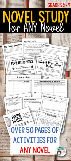 Novel Study for ANY Novel! Includes reading response sheets, character charts, plot diagram, projects and more!