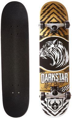 Darkstar 10512178 Lion Complete Skateboard, Gold, 7.625 FU. 7 ply hard rock Maple with our exclusive stiff glue extra. 5.0 T5 aluminum dark Star trucks with good turning radius. 92A bushings, softer bushing Allowing for all weight and size skaters. Abec 1 Carbon steel speed bearings. New and improved urethane Formula. 95A durometer wheels are perfect Hardness, suitable for both street and park skating.
